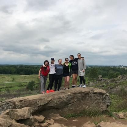 Rain-Out Trip to Gettysburg on Memorial Day Weekend. Mariah, Maggie, Shardon, Julianna, Jamie and Molly enjoying the vast and humbling views.